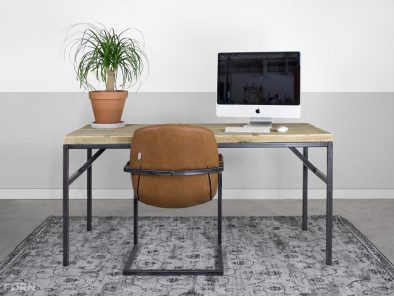 Industrieller Bauholz Schreibtisch mit Stahl mit Stahl Blaize