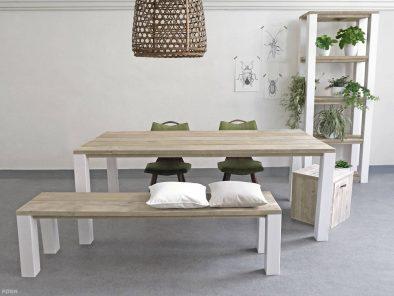 Ländlicher Bauholz Esstisch mit Weißen Füßen mit Sitzbank