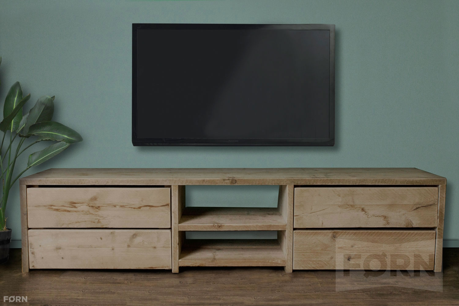 bauholz tv schrank mit schubladen elliot. Black Bedroom Furniture Sets. Home Design Ideas