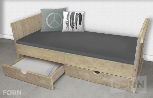 Bauholz Bett mit Schublade I Einzelbett für Kinder & Erwachsene