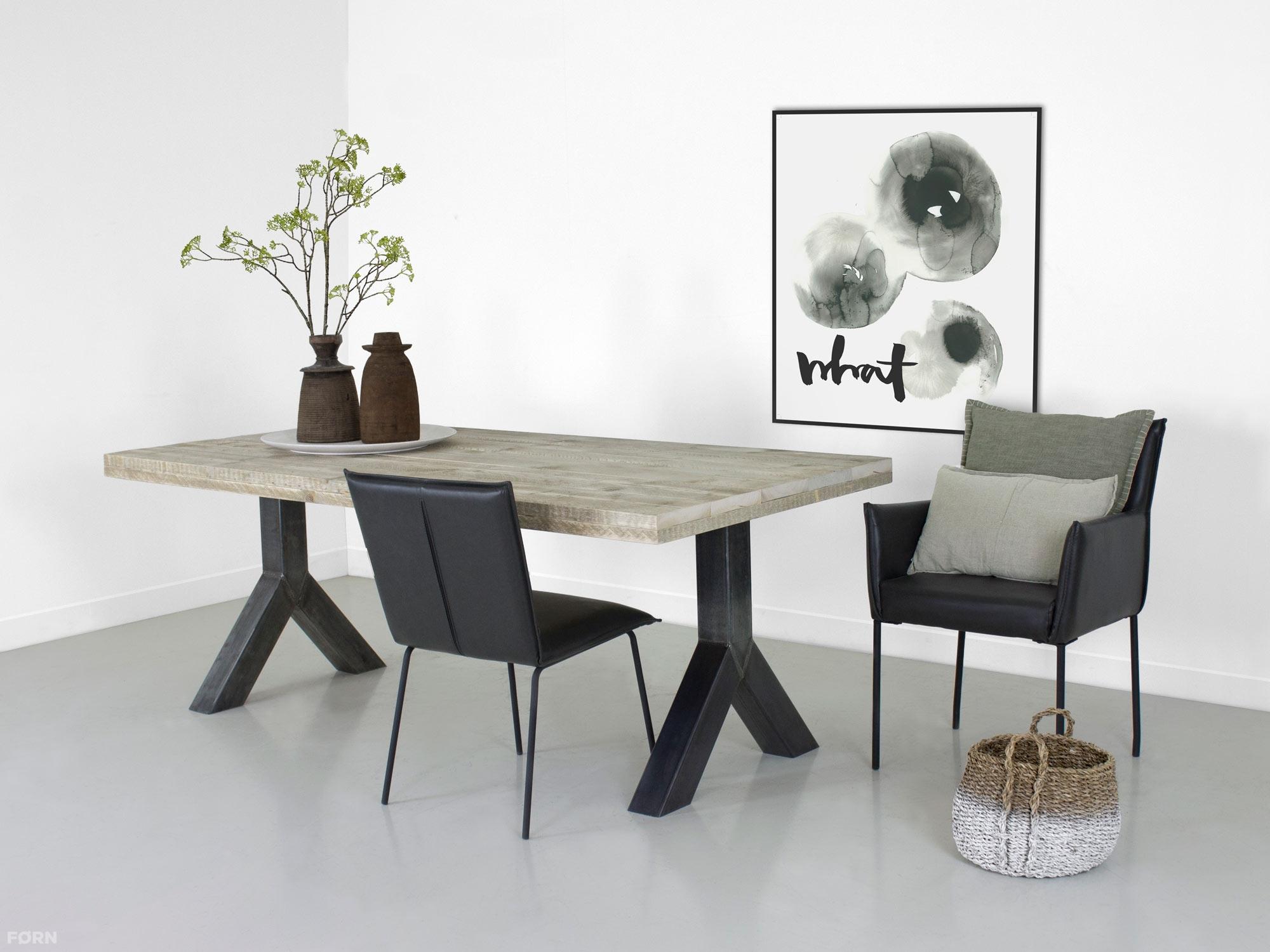Stalen Onderstel Tafel : Steigerhouten tafel yaren met stalen onderstel bauholzmoebeldesign.de